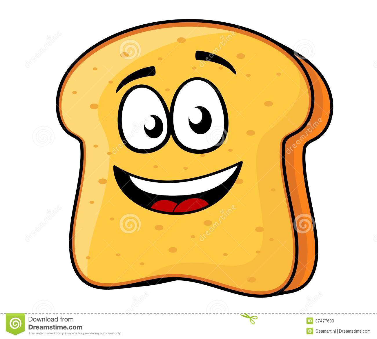 Slice Of Bread Or Toast With A Beaming Smile Stock Vector ...