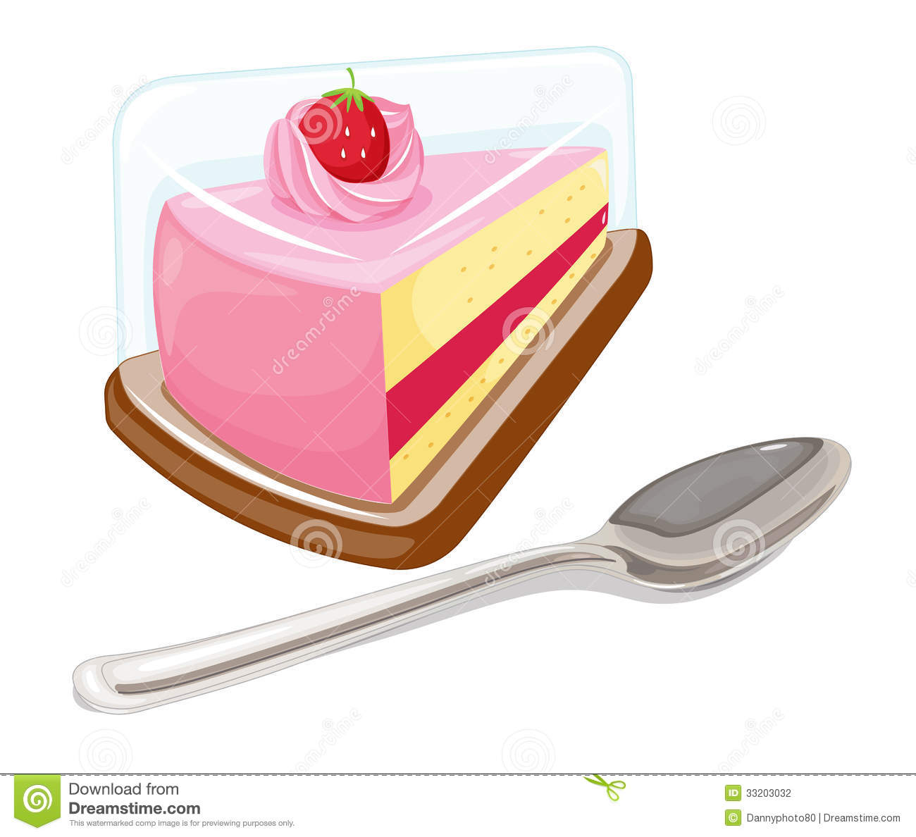 Clipart Slice Of Cake On A Plate : A Slice Of Cake And A Tablespoon Stock Photography - Image ...