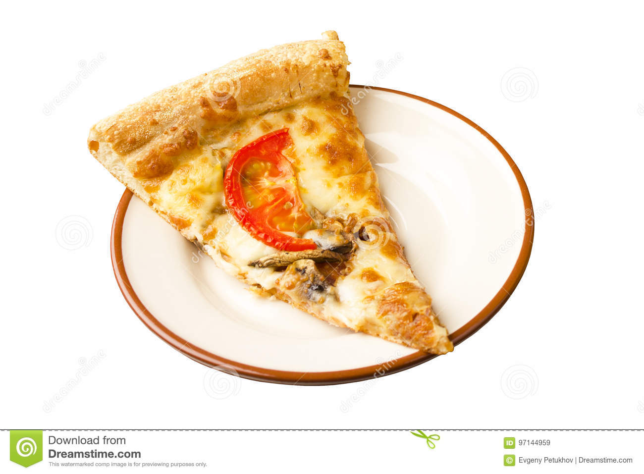 Download A Slice Of Cheese Pizza On Plate Stock Image