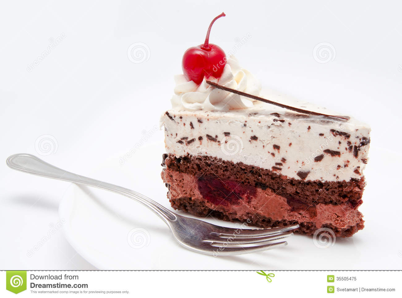 A Slice Of Chocolate Cake In A Plate
