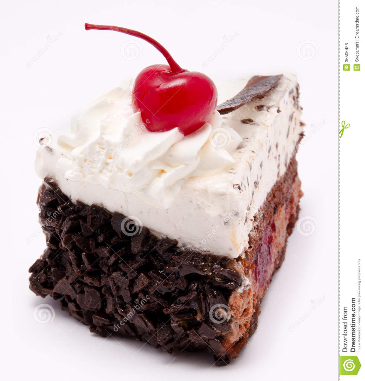 Slice Of Chocolate Cake With Cherry On The Top Isolated ...