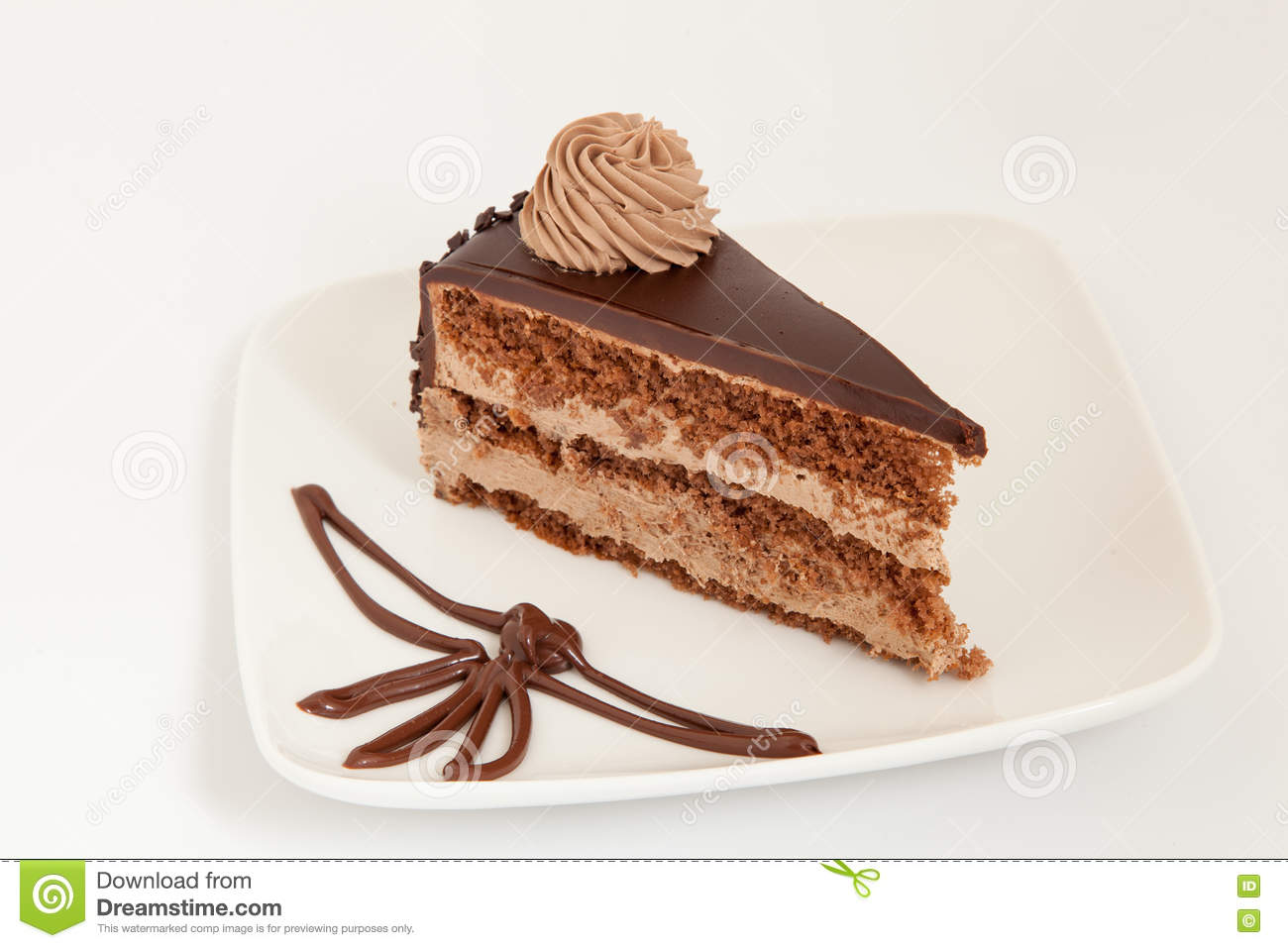 Slice of chocolate cake with decoration on white plate & Slice Of Chocolate Cake With Decoration On White Plate Stock Image ...