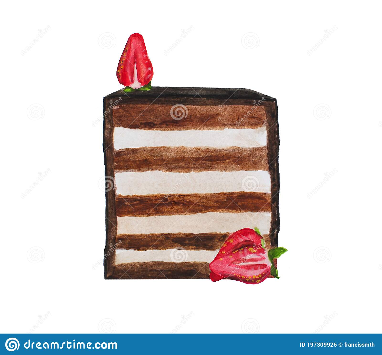 A Slice Of Chocolate Cake With Strawberries In The Cut Watercolor Drawing Stock Illustration Illustration Of Bakery Menu 197309926