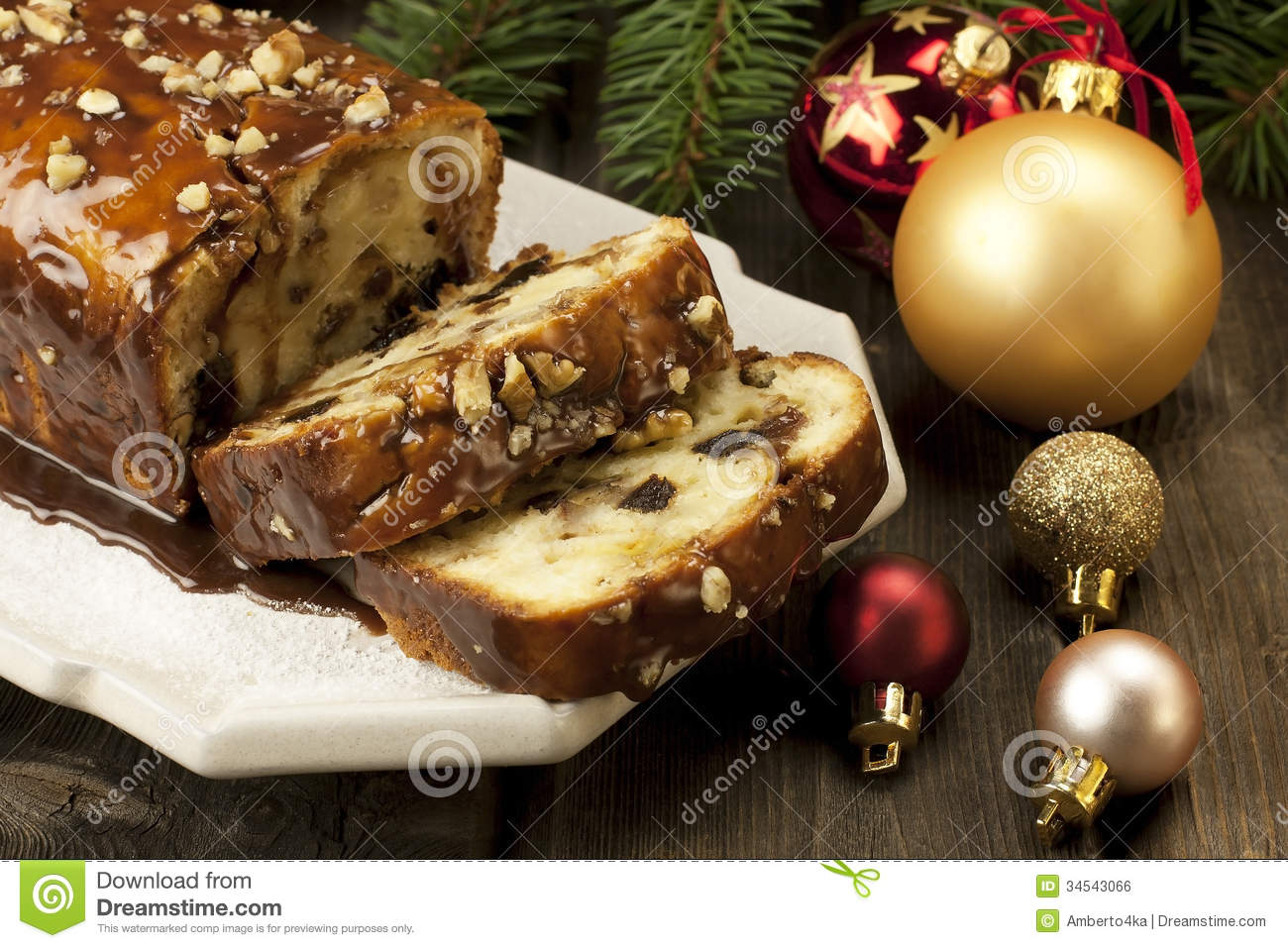 Slice Of Christmas Cake Decorated With Walnuts Royalty ...