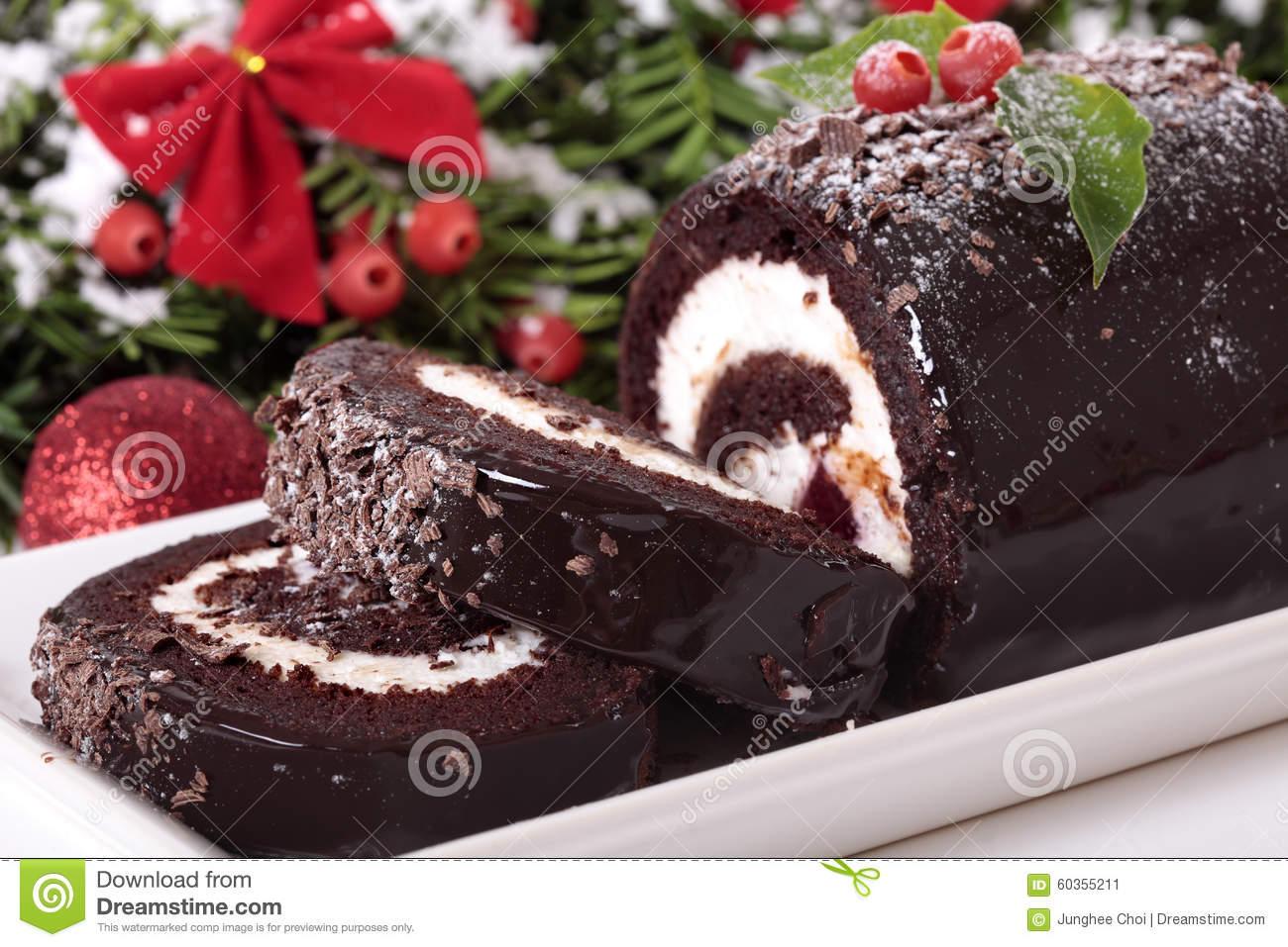 How to make a christmas yule log decoration - Royalty Free Stock Photo Download Slice Of Christmas Yule Log