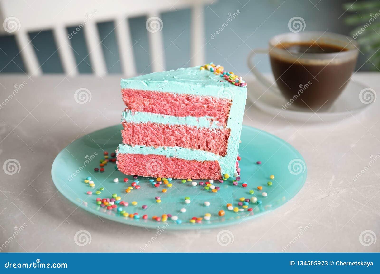 Slice Of Fresh Delicious Birthday Cake