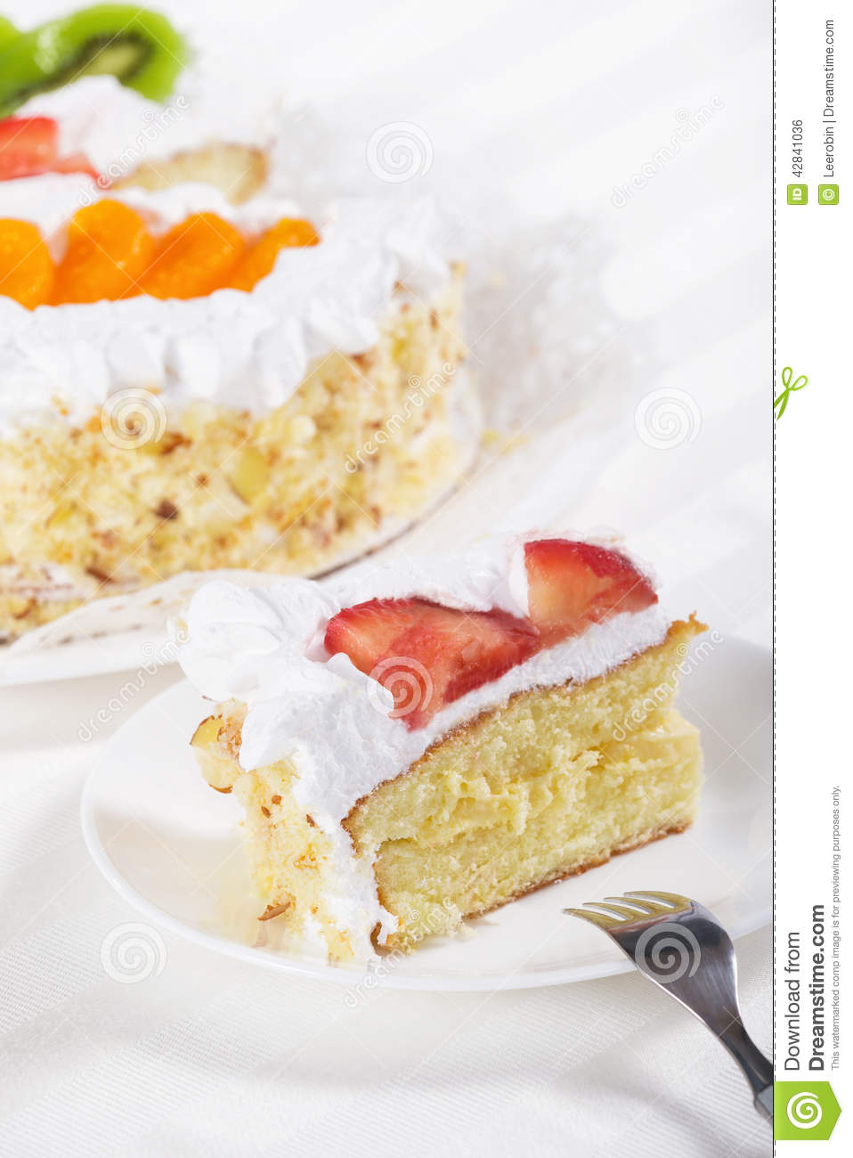 Slice Of Fruit Flan Cake Stock Photo - Image: 42841036