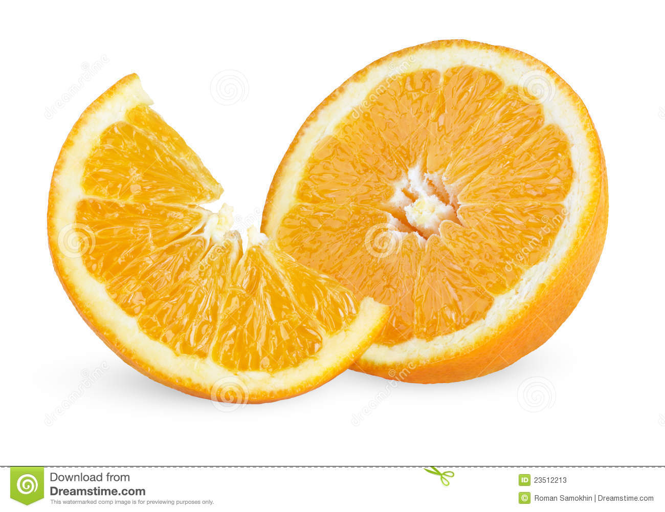 Slice And Half Of Ripe Orange Stock Image - Image: 23512213