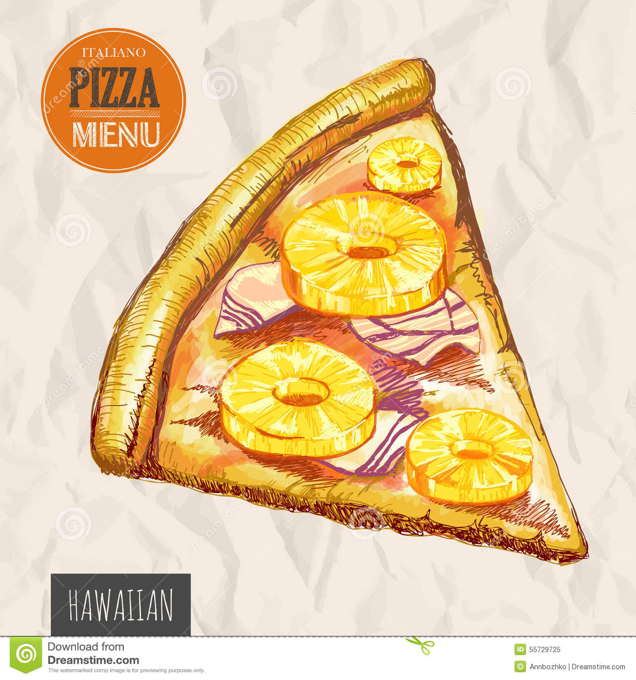 a slice of hawaiian pizza stock vector illustration of poster rh dreamstime com Hawaii Mountain Clip Art Tropical Drink Clip Art