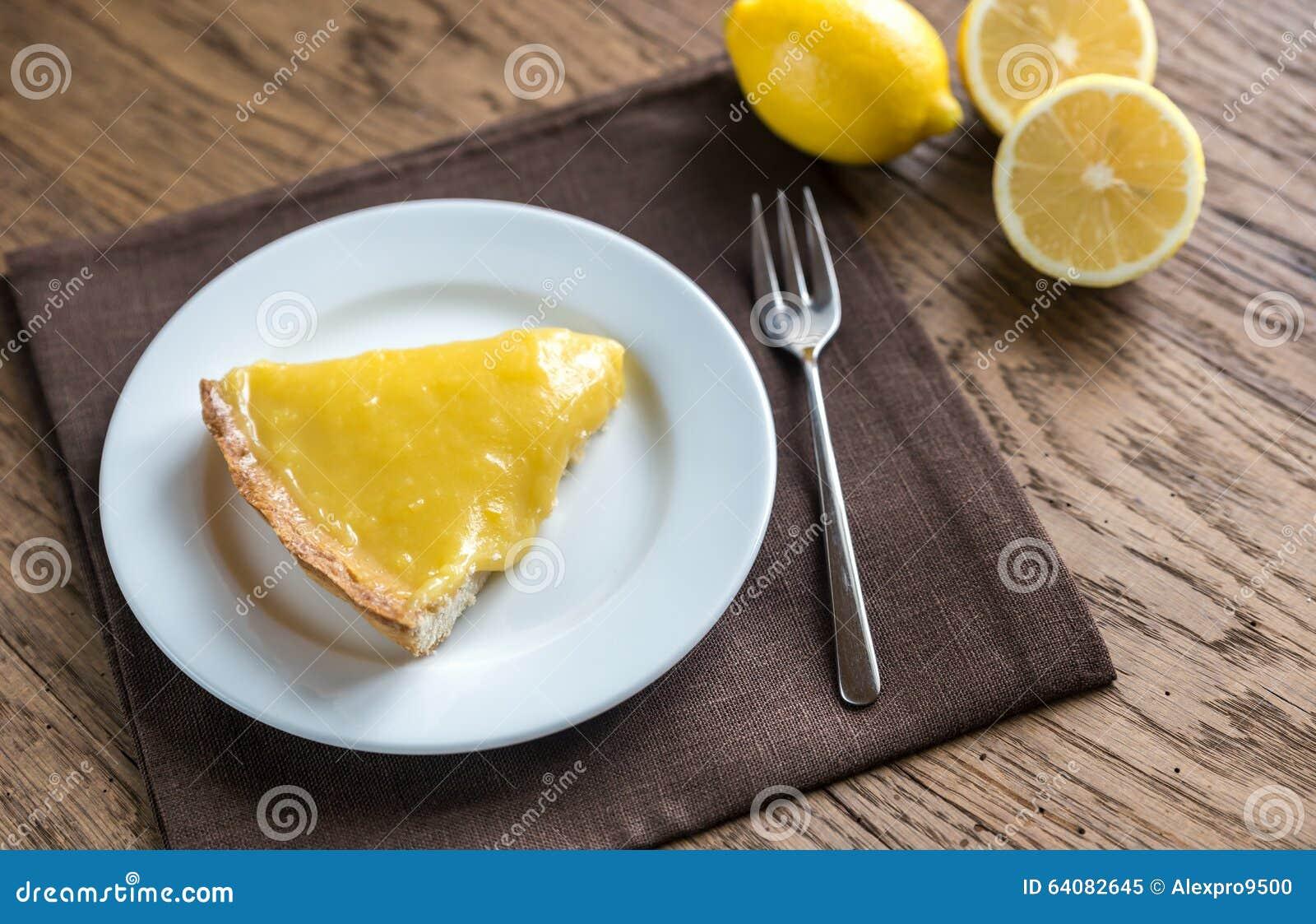 Slice of lemon tart on the plate