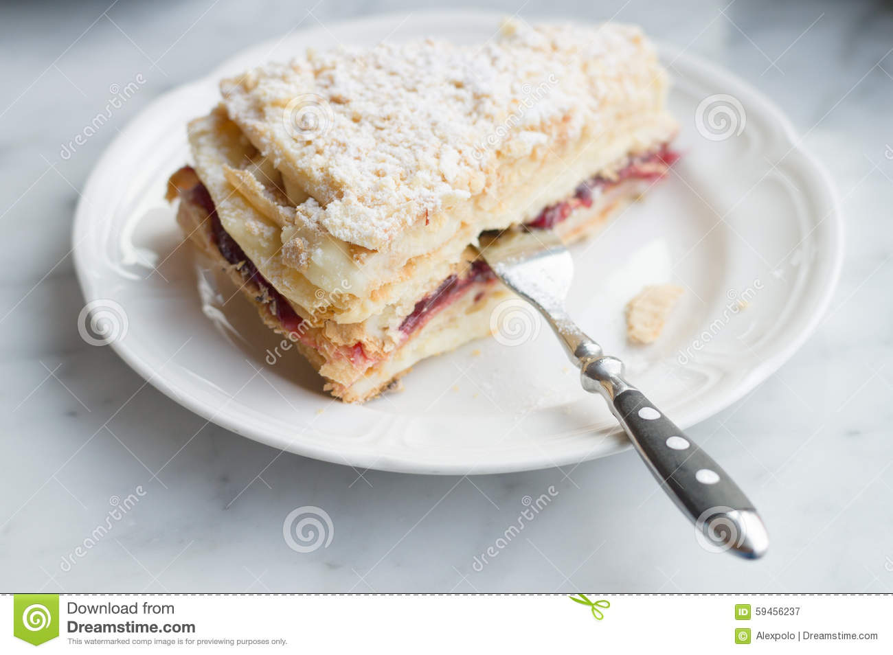 Slice of Mille Feuille cake on Slice