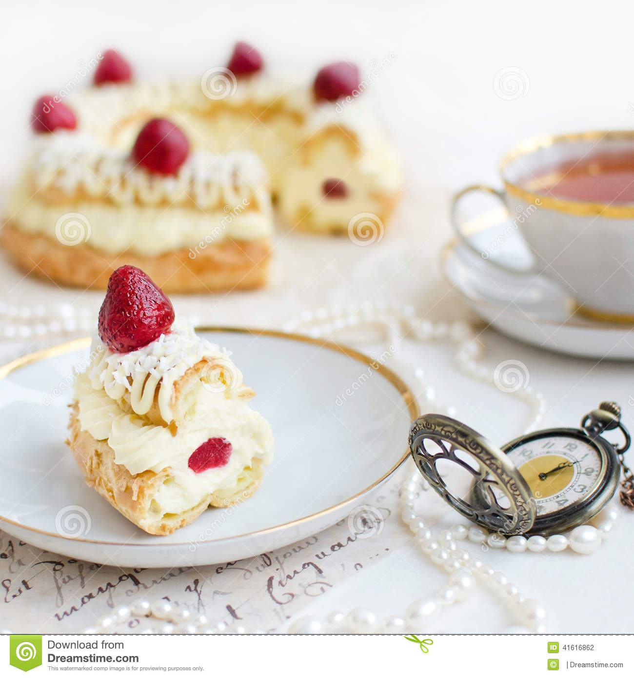 slice of paris brest cake with strawberries stock photo image 41616862. Black Bedroom Furniture Sets. Home Design Ideas