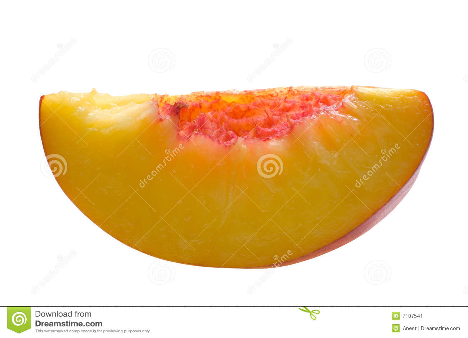 Slice of peach isolated on white stock image image 7107541