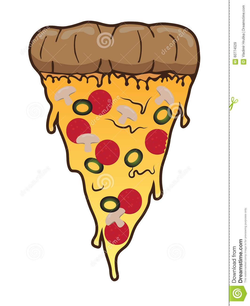 slice of pizza with salami olive and meadow vector clip art fast rh dreamstime com pizza slice clipart cheese pizza slice clipart