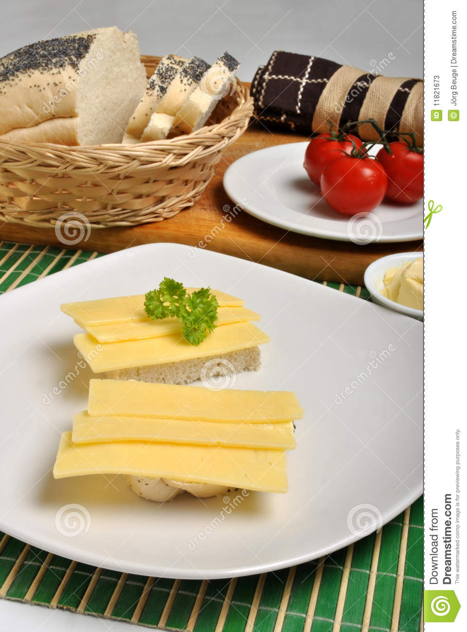 Slice poppy seed bread with cheese