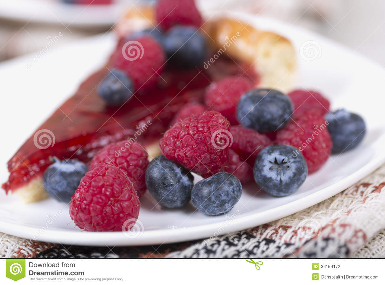 Slice Of Raspberry Pie With Fresh Raspberries And Blueberries Stock ...