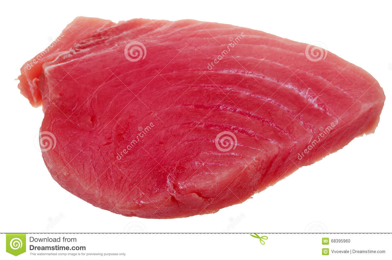 Slice of raw tuna fish meat isolated on white stock photo for Is fish meat