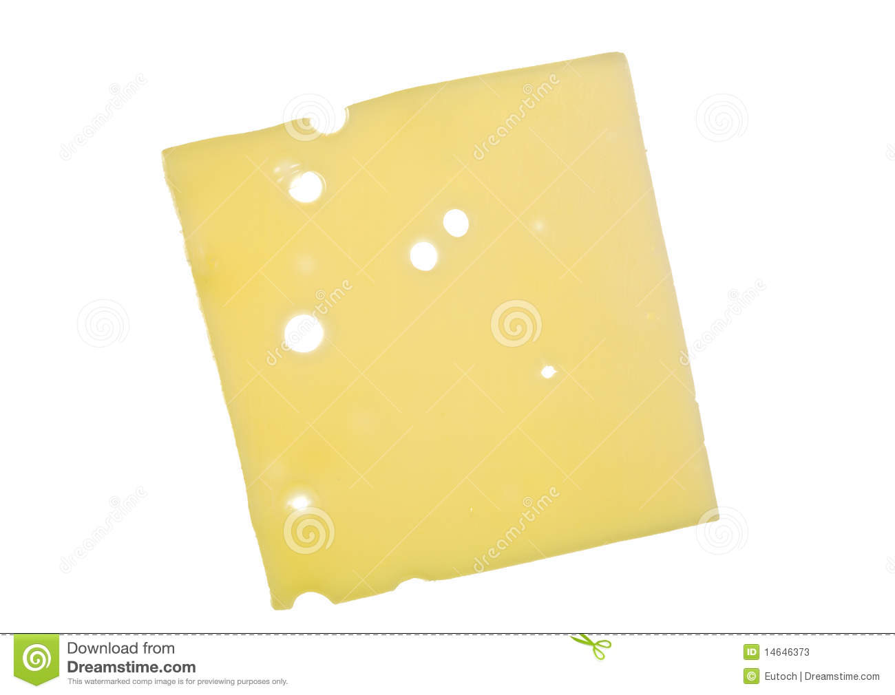 Slice of Swiss cheese close up; isolated on white background.