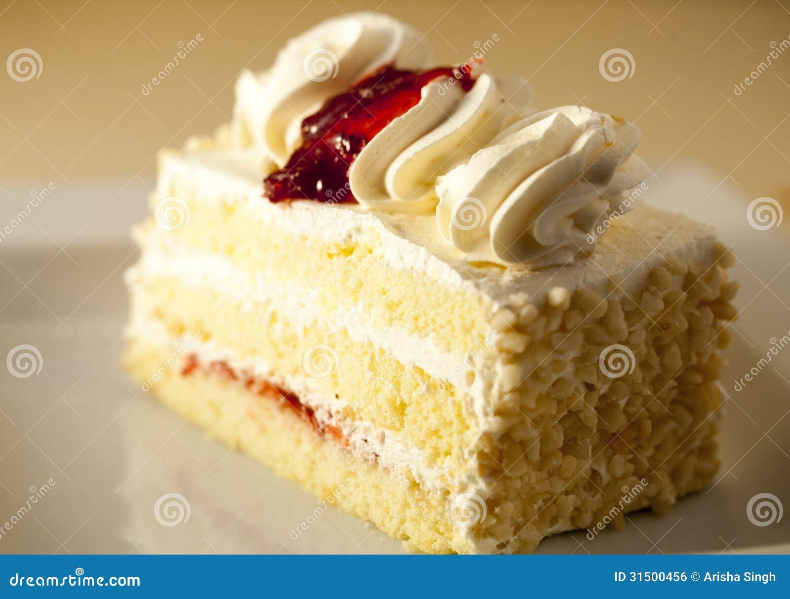 Slice Of Vanilla Cake Stock Photo Image Of Gourmet Cream