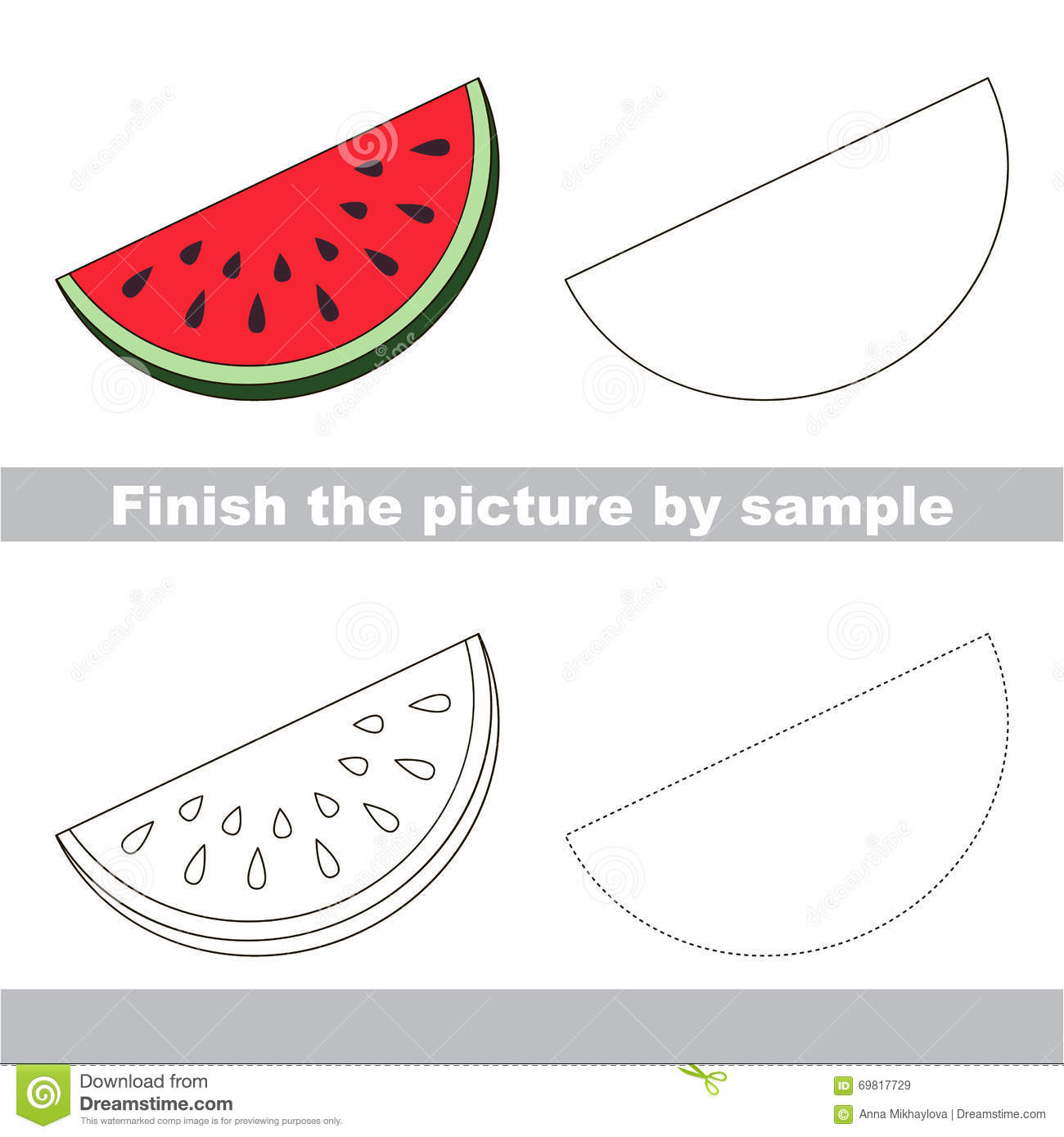 Slice Of Watermelon Drawing Worksheet Stock Vector Illustration