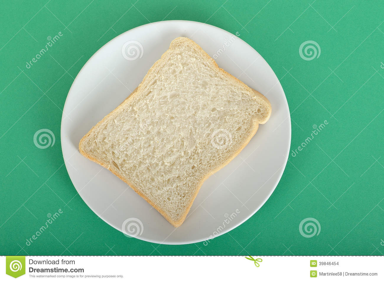 Slice Of White Bread On A Plate Stock Photo - Image: 39846454