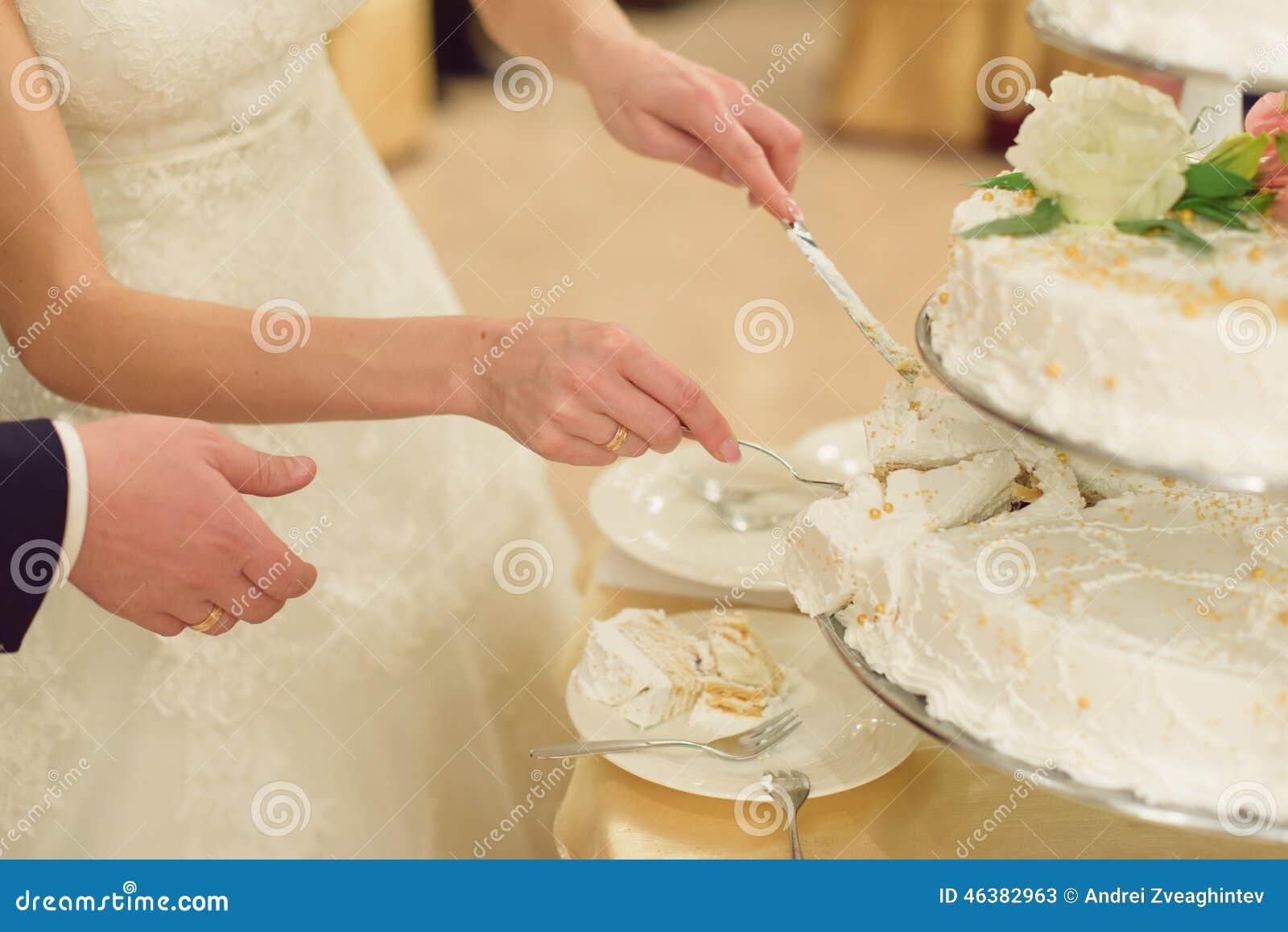 Slice Of White Wedding Cake Stock Image - Image of life, celebration ...