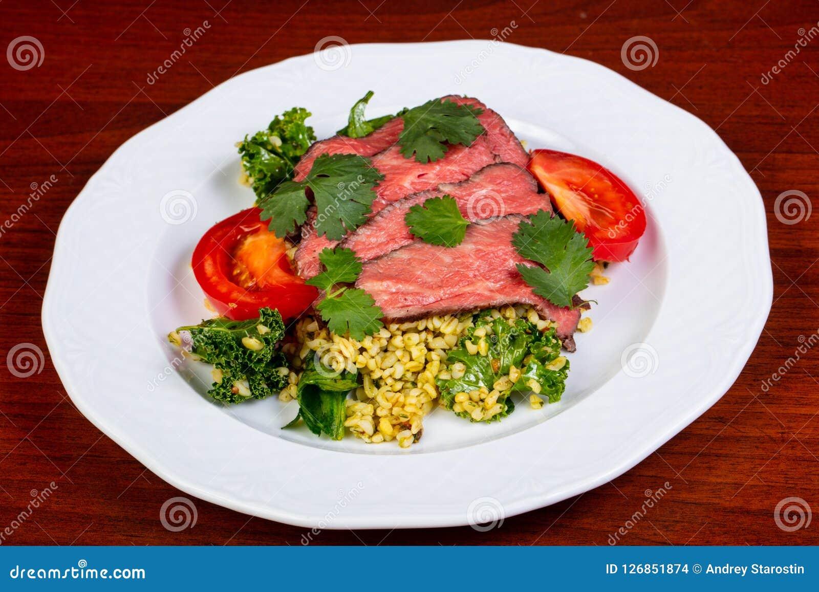 Sliced beef steak