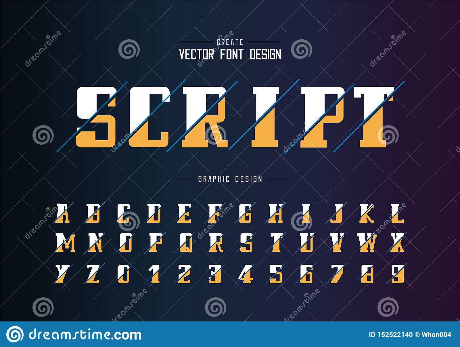 Sliced bold font and alphabet vector, Script and number design, Graphic text on background