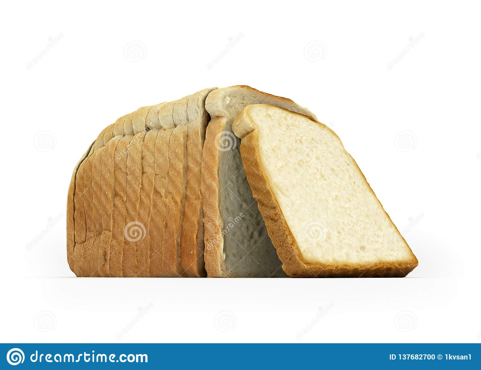 Sliced bread isolated on white background 3d