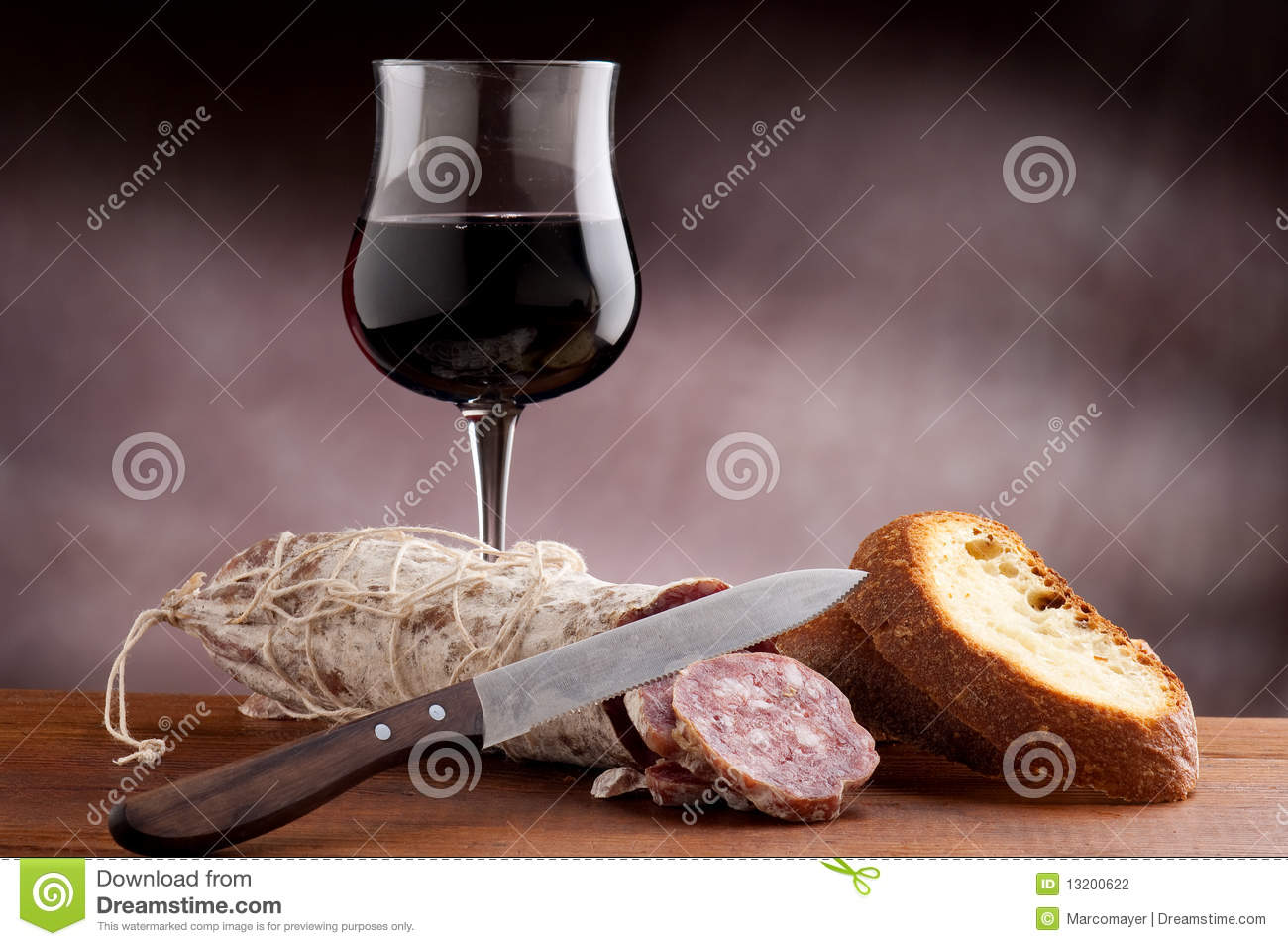 Sliced bread with salami