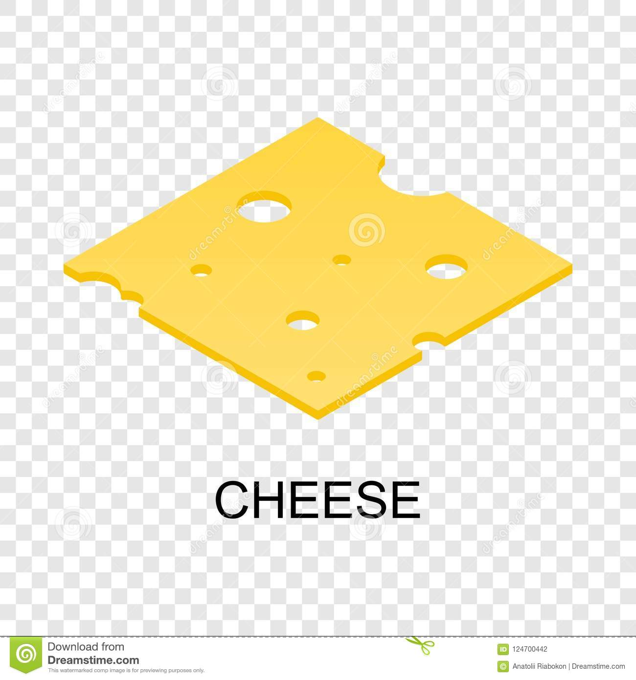 Sliced cheese icon, isometric style