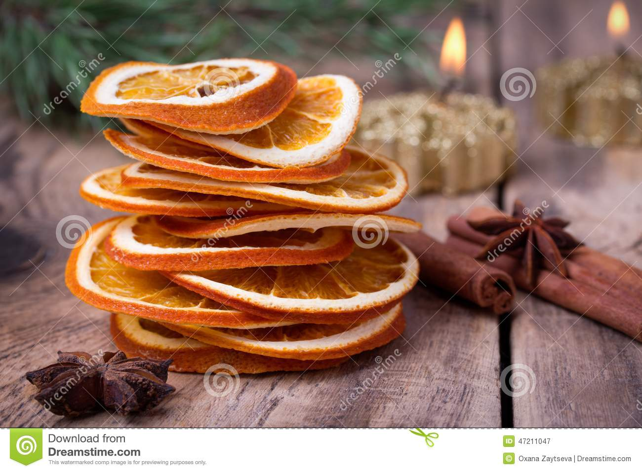 Sliced of dried orange cinnamon sticks anise stars and for Baking oranges for christmas decoration
