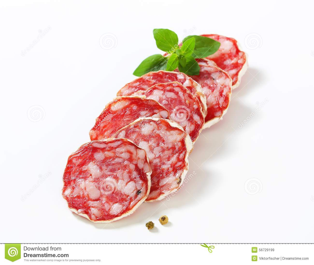 Sliced French Saucisson Sec Stock Photo - Image: 56729199