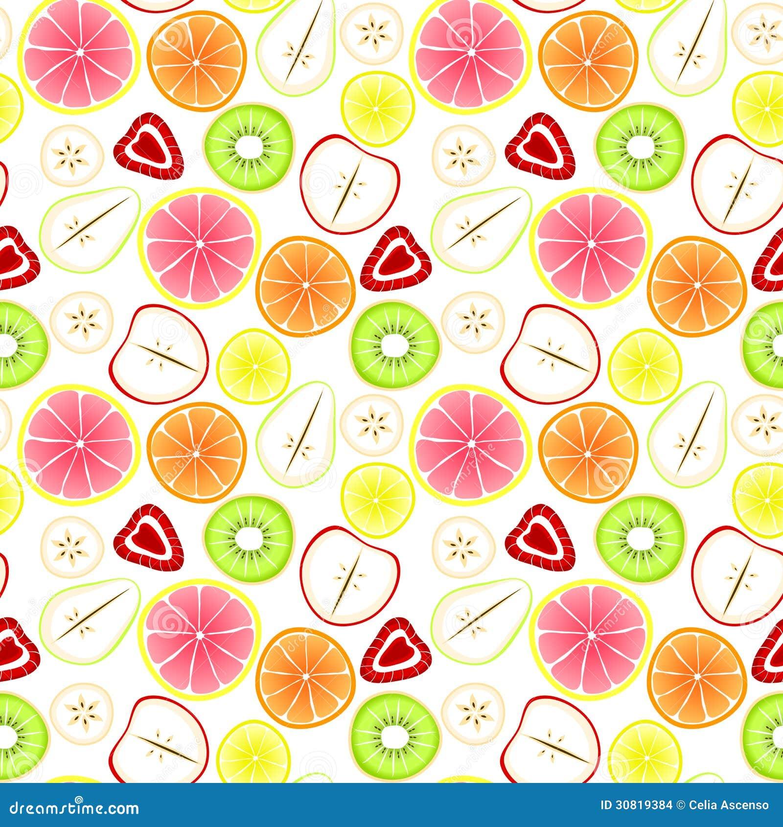 Sliced Fruit Seamless Background Assorted Strawberries Apples Pears Kiwi Bananas Lemons Grapefruit Oranges Tile Natural Fresh Juice Retro