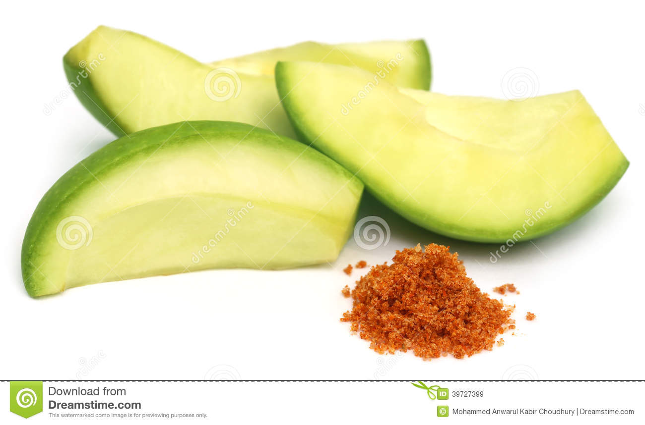 Sliced Green Mango With Chili Powder And Salt Stock Photo ...