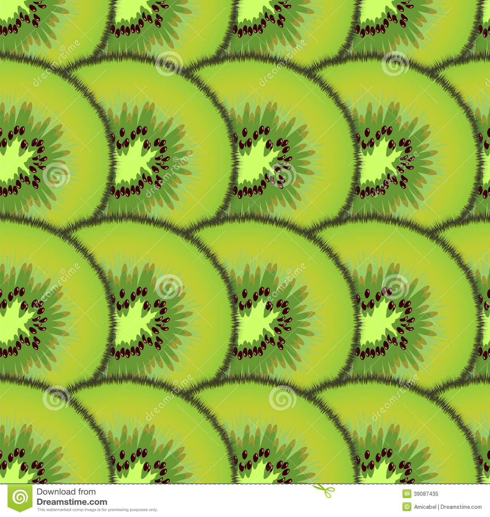 Sliced kiwi fruit. Design seamless pattern