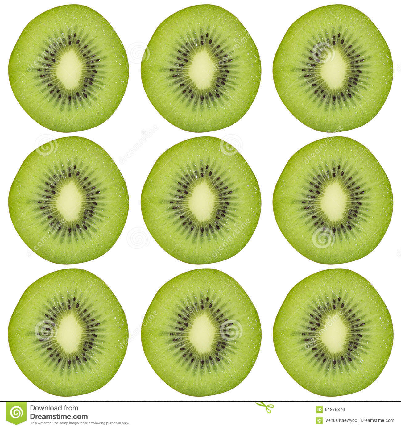 Sliced kiwi fruit pattern background