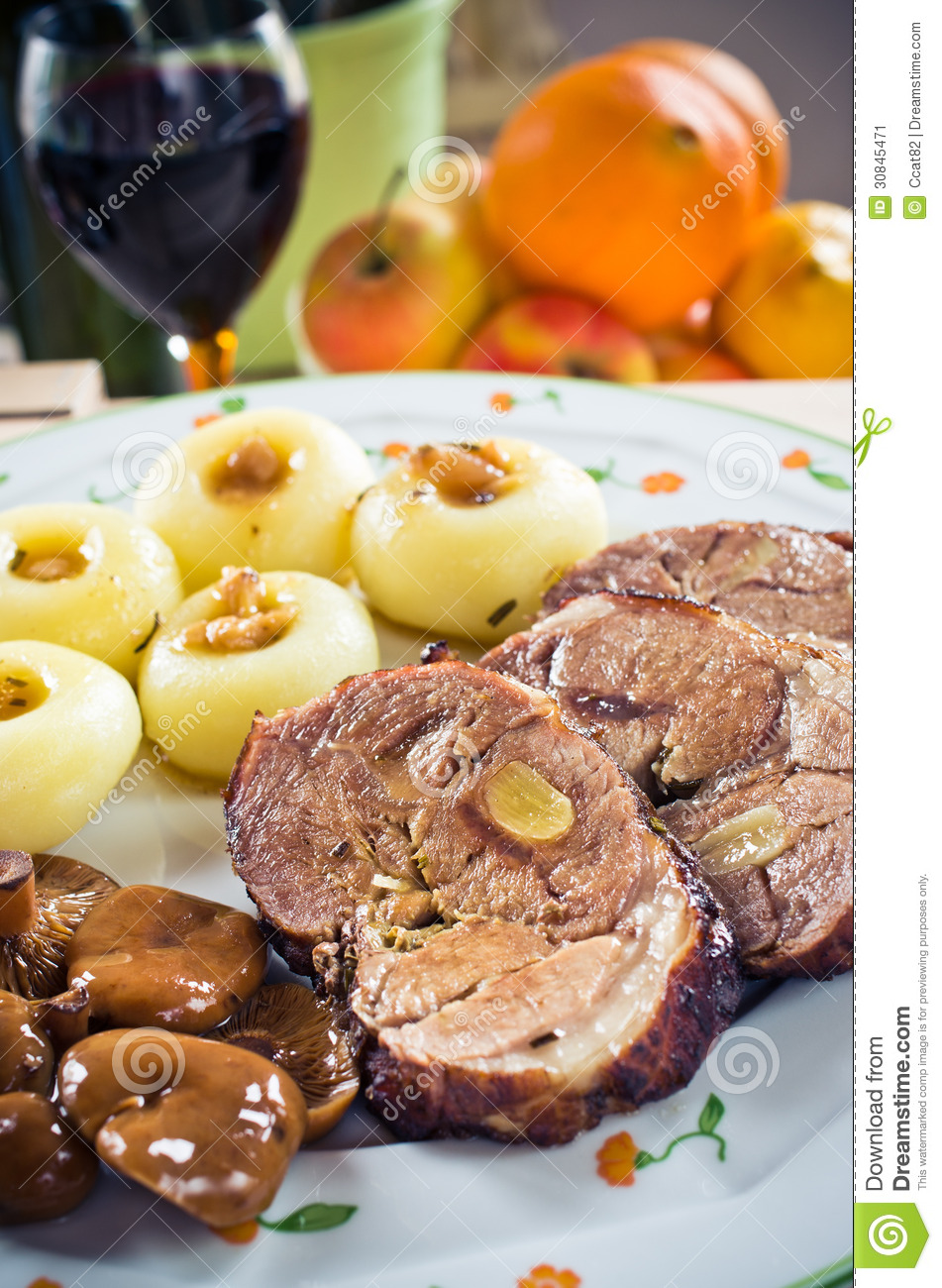Sliced Lamb Roast With Noodles Stock Image - Image: 30845471