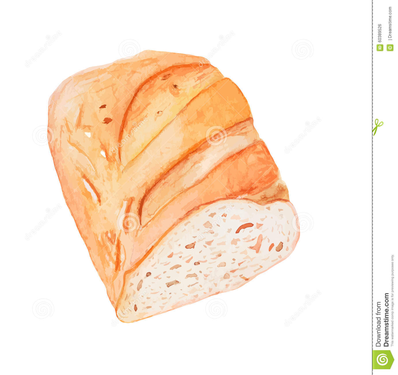 Sliced Loaf Of White Bread Vector Watercolor Painting