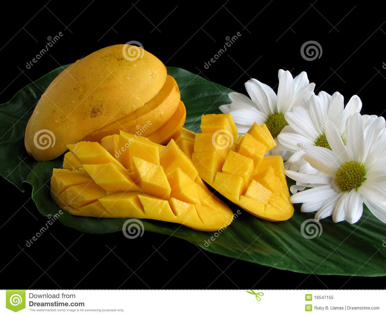 Sliced Mangoes On Leaf