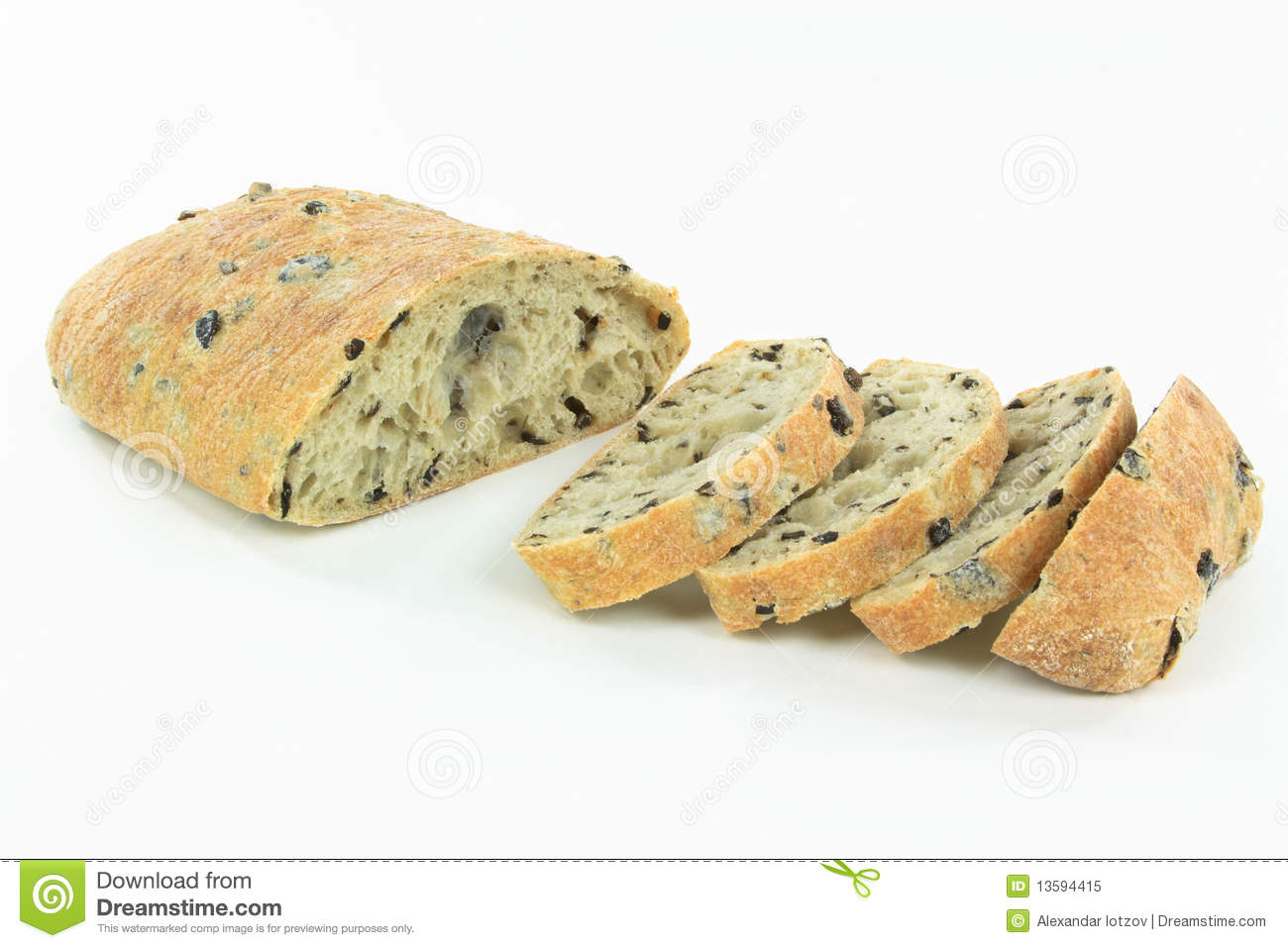 Sliced Mediterranean Ciabatta Black Olive Bread. Royalty Free Stock ...