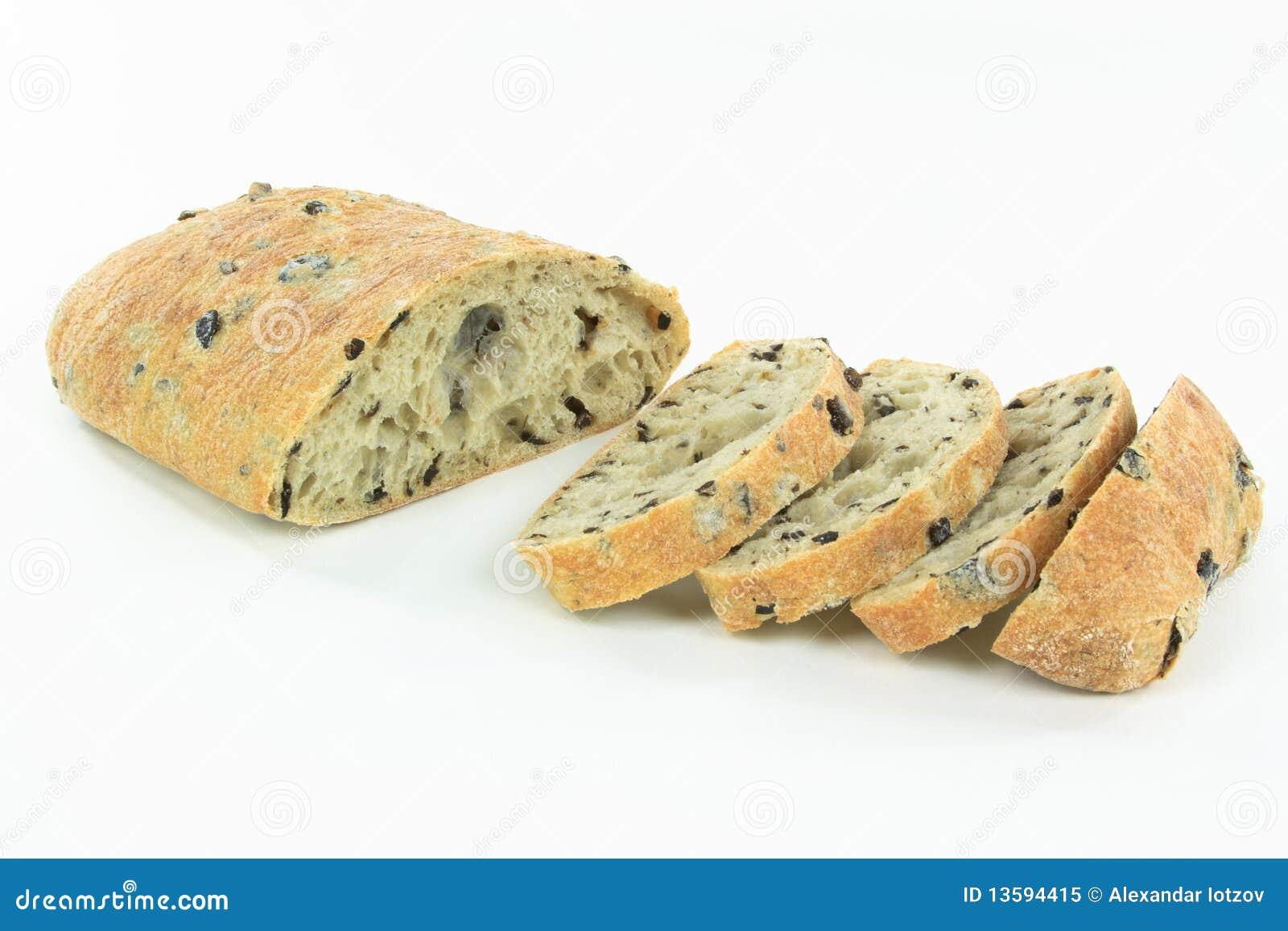 Sliced Mediterranean Ciabatta Black Olive Bread. Royalty Free Stock ...