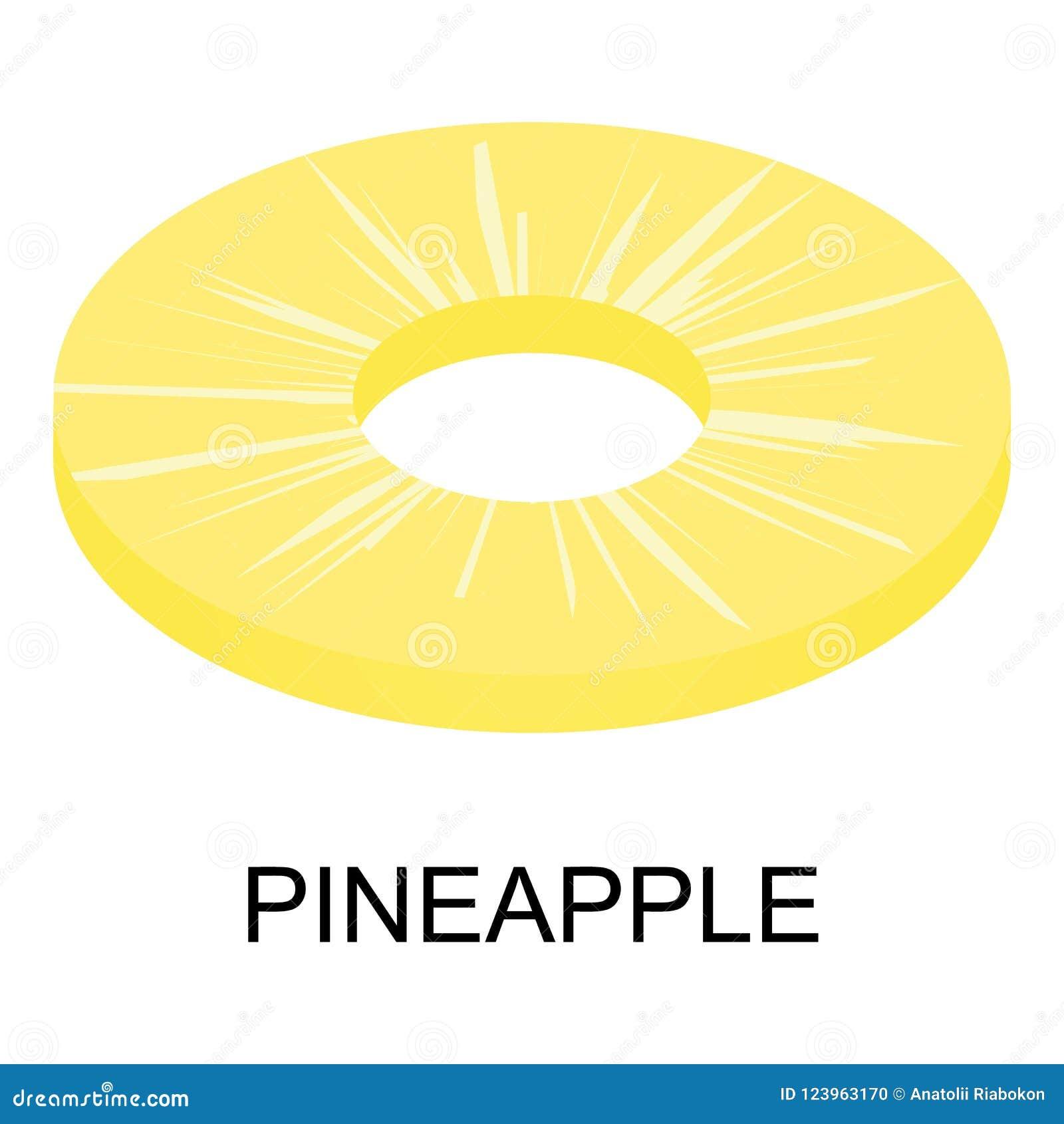 Sliced pineapple icon, isometric style