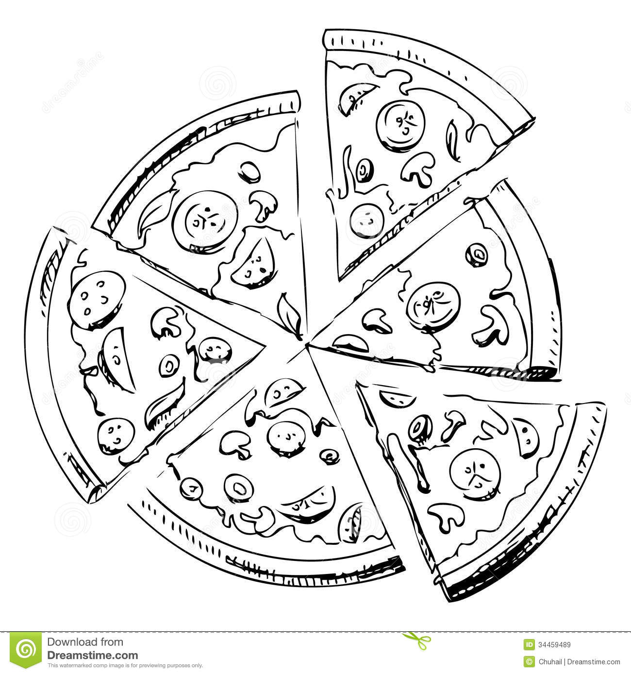 Sliced pizza isolated on white background. Hand drawing sketch vector ...