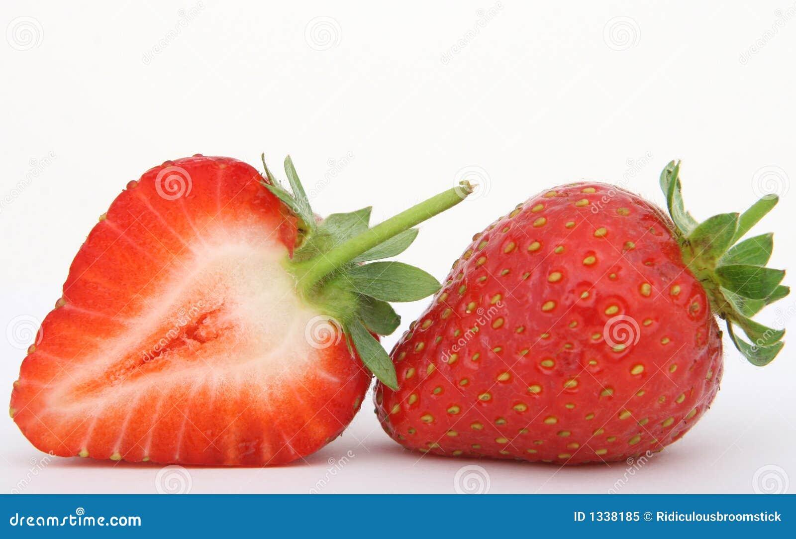 Sliced red strawberry fruit