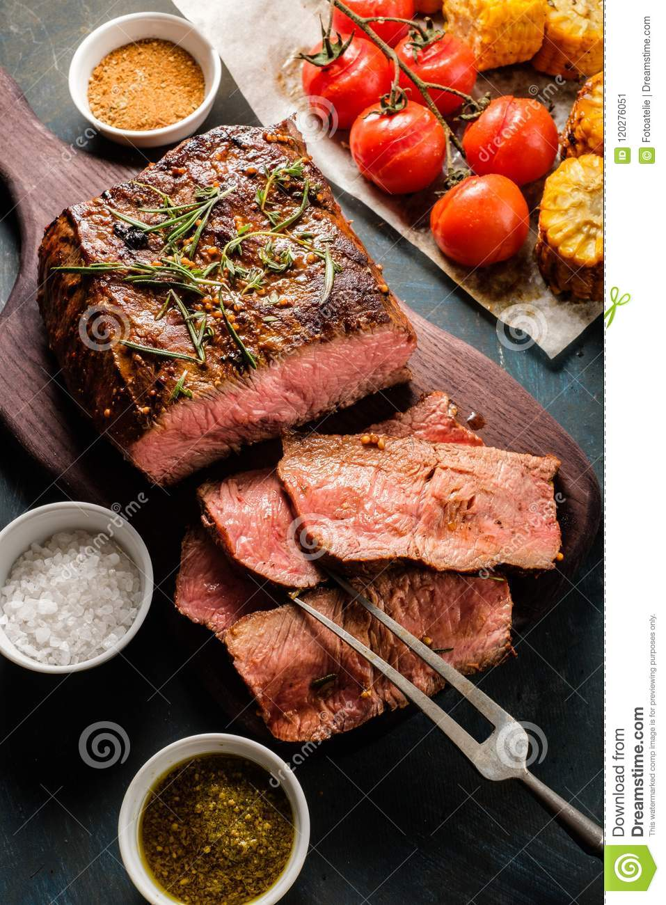 Download Sliced Roast Beef On Cutting Board With Grilled Vegetables. Top Stock Image - Image of beef, angus: 120276051