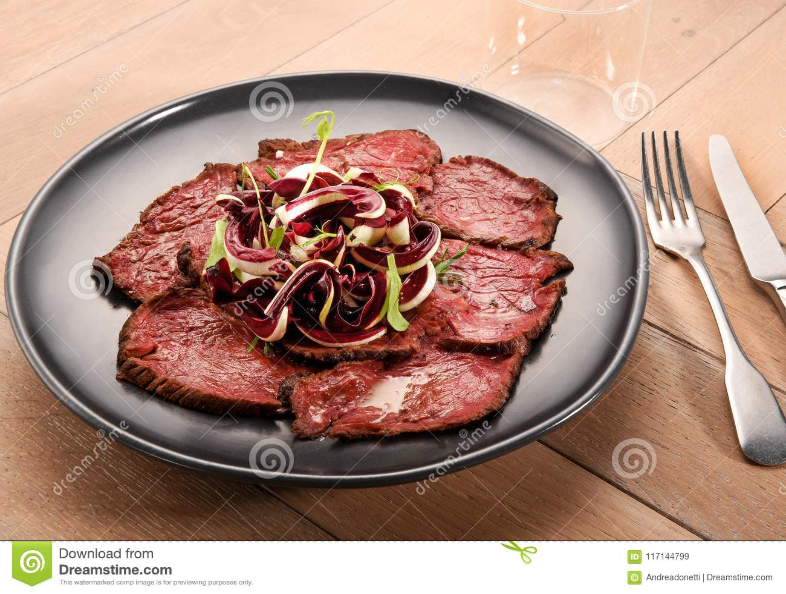 Sliced roast beef with radicchio salad stock image image of.