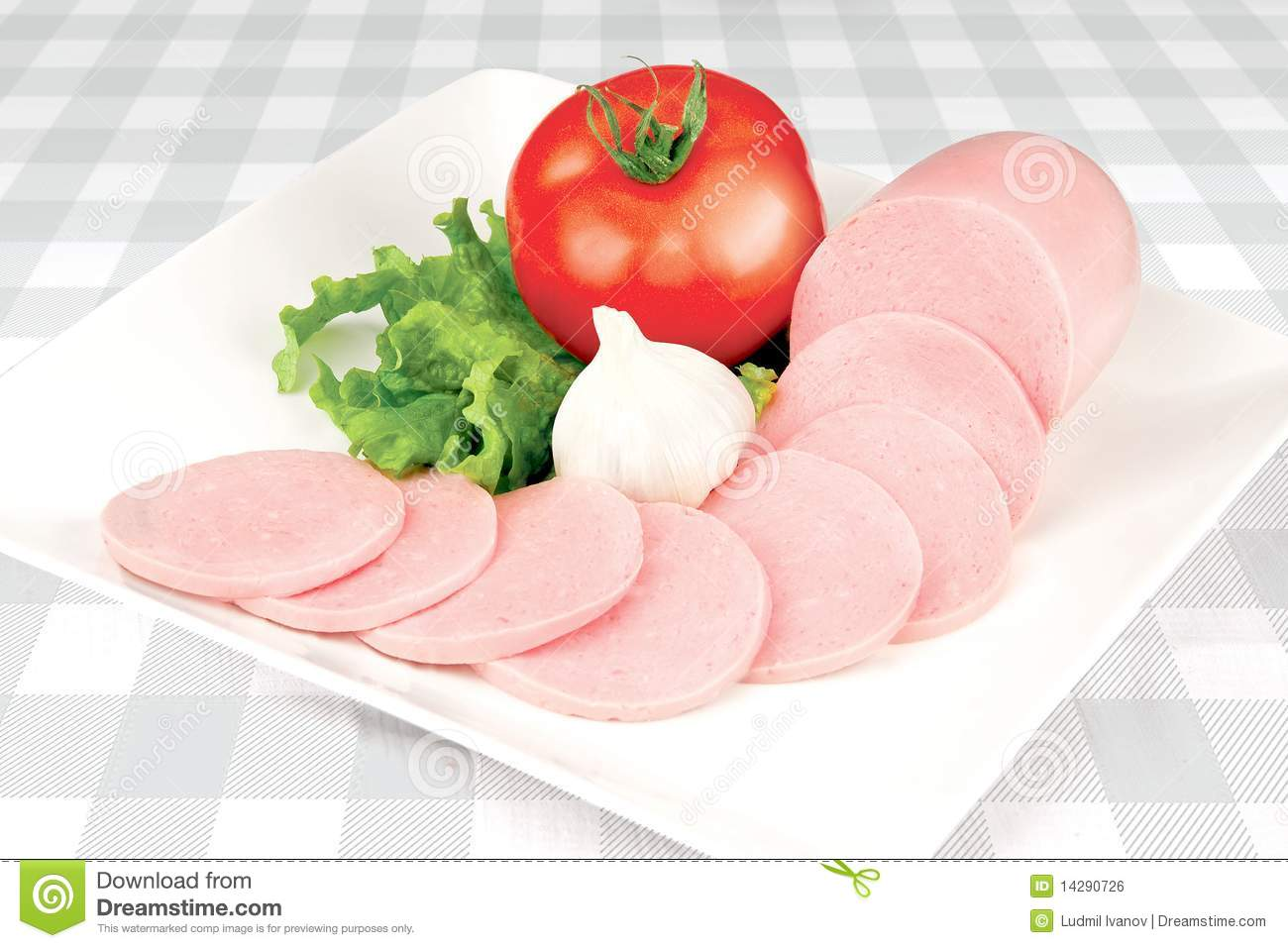 Download Sliced sausage stock photo. Image of food, tomato, breakfast - 14290726