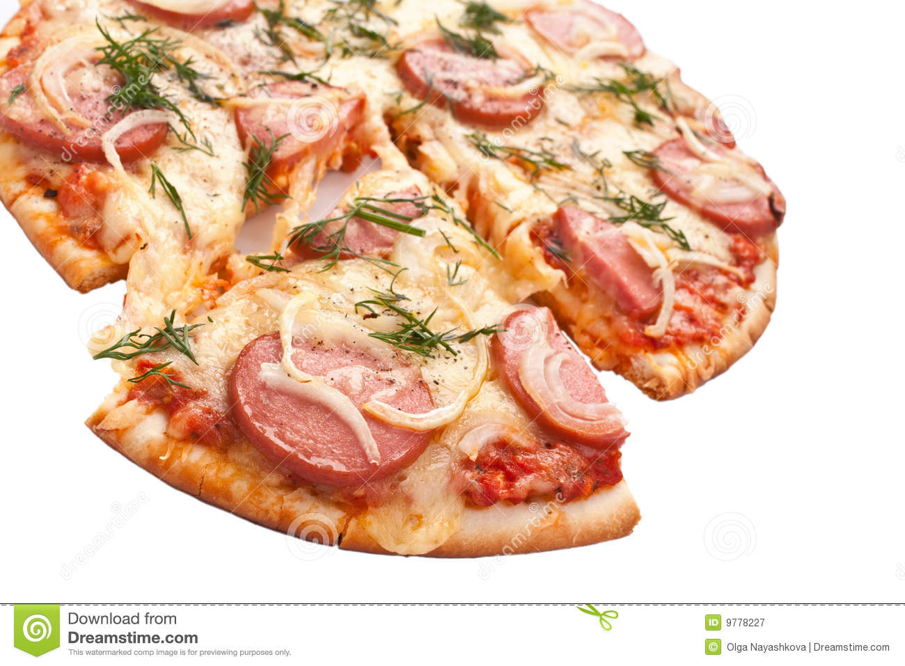 Download Sliced Sausage And Onion Pizza Stock Image - Image of melted, piece: 9778227