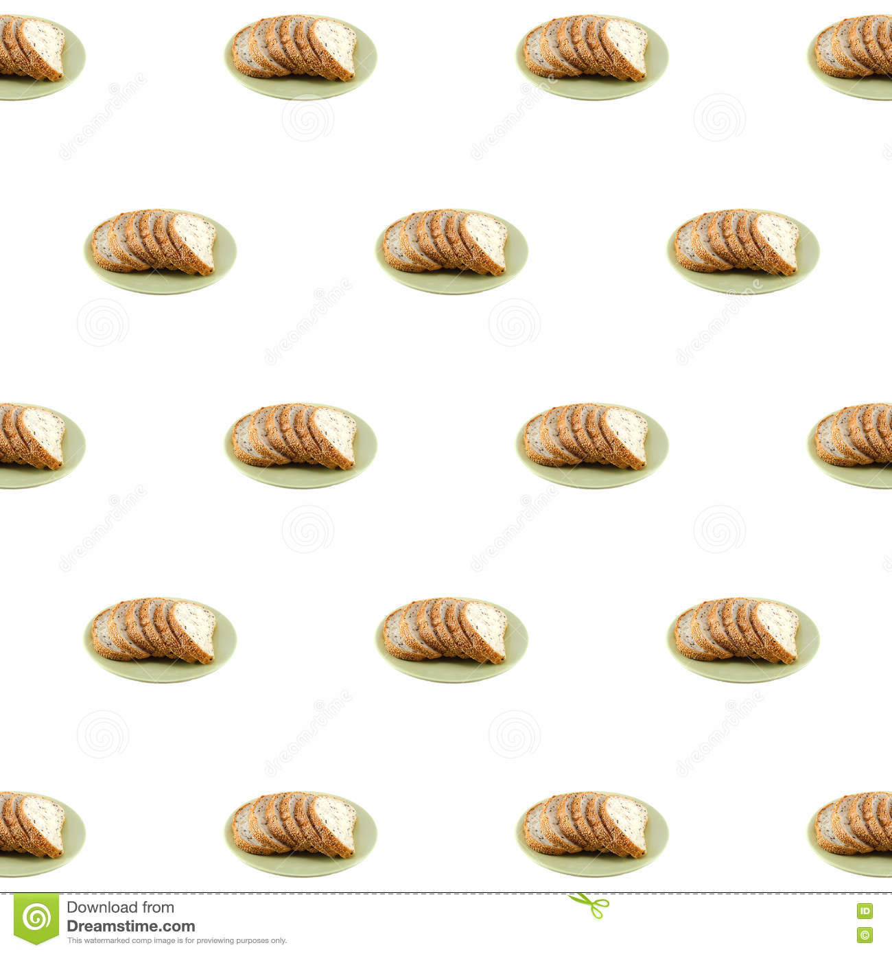 Sliced Sesame Bread On White Background